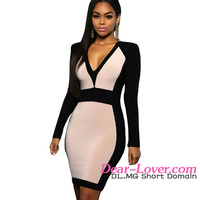 Ladies Official Dresses 2016 New Modern Fashion Sexy Apricot Black Color Block Long Sleeve Midi Dress