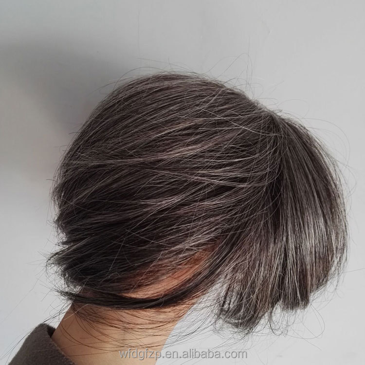 leading company toupee human and synthetic mens toupee with gray hair