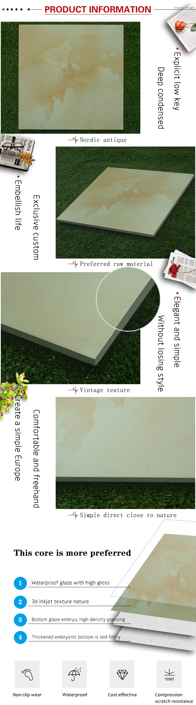 Foshan GUCI new design anti-slip light yellow rustic porcelain tile full body kitchen floor tiles ceramic