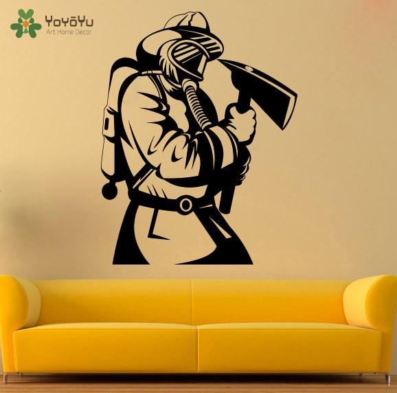 YOYOYU Wall Decal Fireman Wall Stickers Livingroom Removable Vinyl ...
