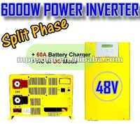 6000w output 48v 110v 220v 60A inverter charger 48v split phase inverter off grid