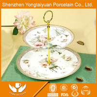 New design 2 layers royal horse decal porcelain dry fruit plate