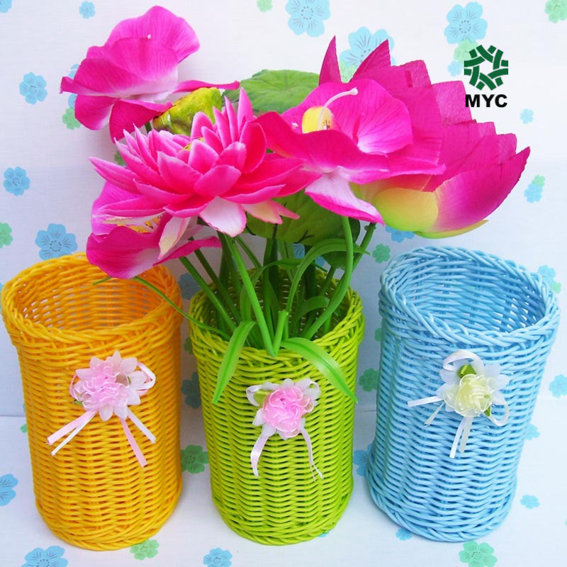 MYC Multi-purpose plastic flower basket with rose ribbon <strong>A02</strong>