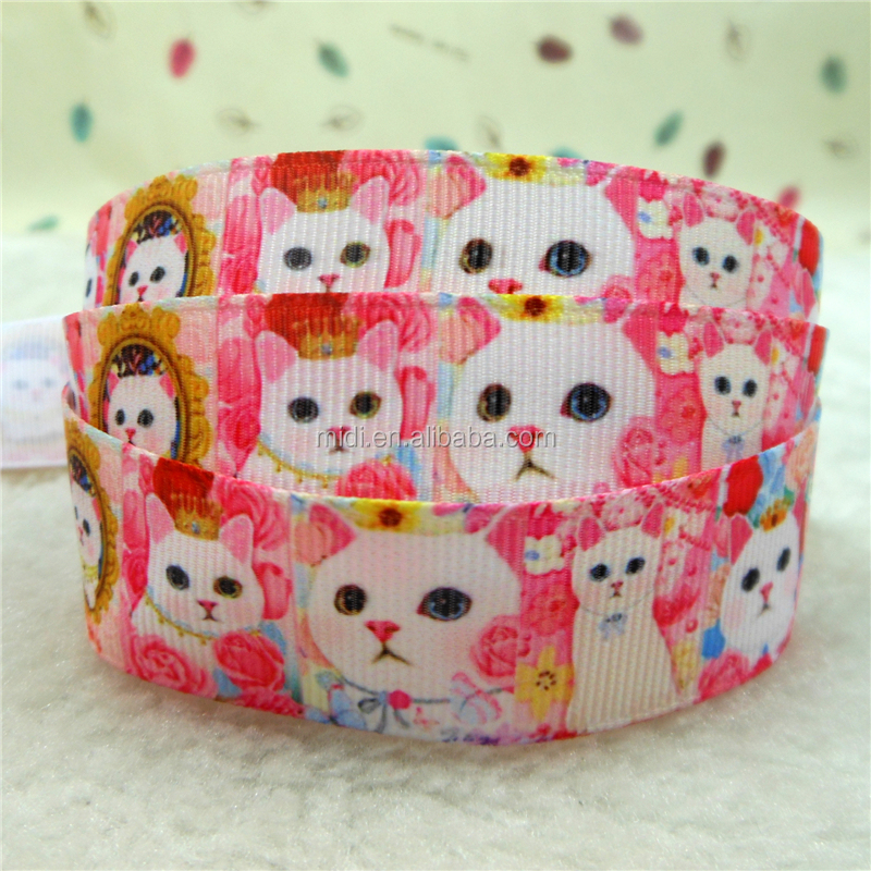 Lovely Little Animals Pattern Grosgrain Ribbon Cute Cats,Rabbits and Dogs Print Grosgrain Ribbon