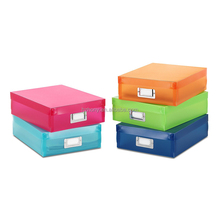 Plastic Document Trinket Storage Organizer Boxes Set of 5 Assorted Colors