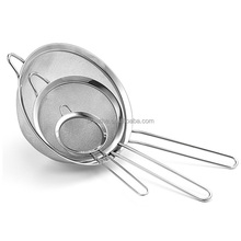 Kitchen Tools Stainless steel strainer set of 2.8/4.8/7inch fine mesh strainer