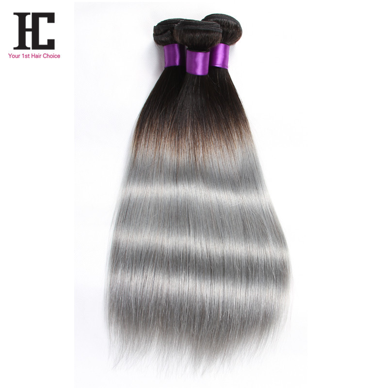 Silver Grey Hair Weave 7A Brazilian Virgin Hair  Straight 3Pcs/lot Ombre Hair Extensions 100% Silver Grey Ombre Hair Extensions
