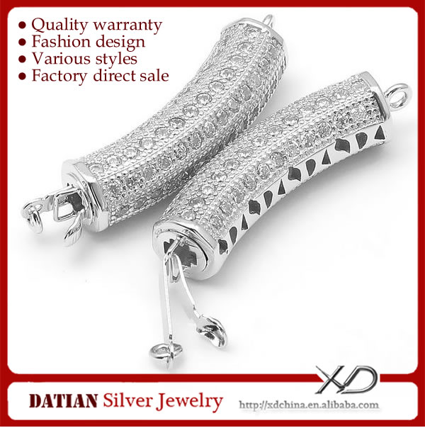 XD <strong>K101</strong> CZ Stones Long Tube 925 Sterling Silver Jewelry Clasp