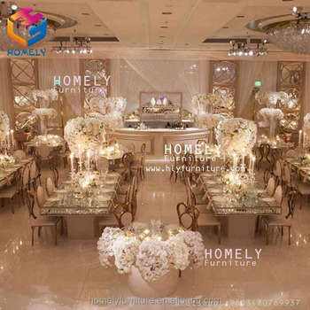 new design event dining party rectangle black tempered glass top crystal gold stainless steel table for wedding