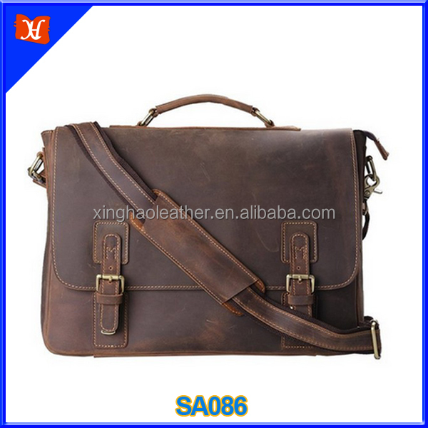 High-grade vintage top grain cowhide leather mens genuine leather business briefcase