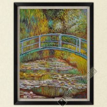 Japanese Bridge, 100% Handmade Impression Oil Painting Canvas Reproduction of Claude Monet