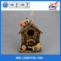 Elegant Hotsale Handmade Polyresin Bird Nest/Houses for Garden Decoration