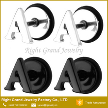 Customized Black Plated Stainless Steel Letters Fake Plugs Piercing Body Jewelry