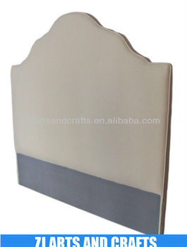 8021 modern head board (Natural linen weave fabric headboard. With scolloped frame and detailed doubled piping.)