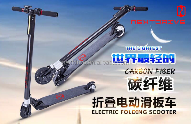 light Folding Carbon Fiber E-Scooter In The World, Folding Kick Scooter, The Lightest Carbon Scooter