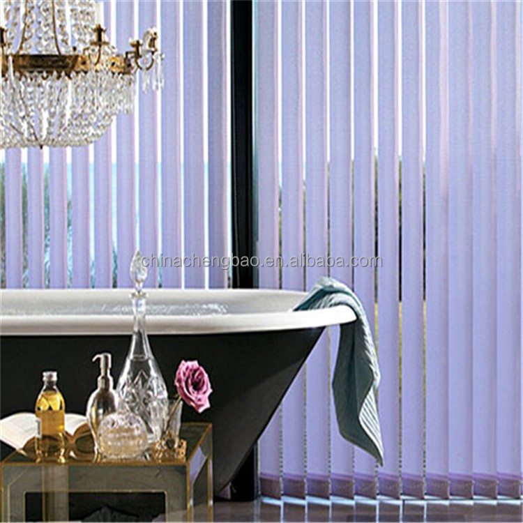 Elegant purple bath shower windows vertical blinds