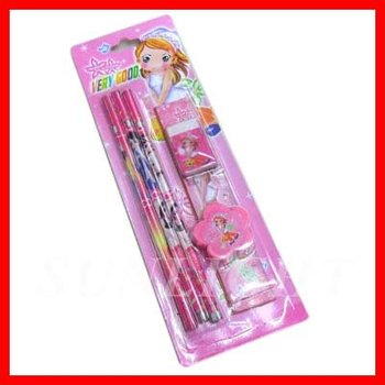 cute stationery set for kids with pencil,eraser,sharpener,ruler
