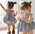 2017 fashion cute infant stripe spaghetti strap backless bowknot dress+clothes