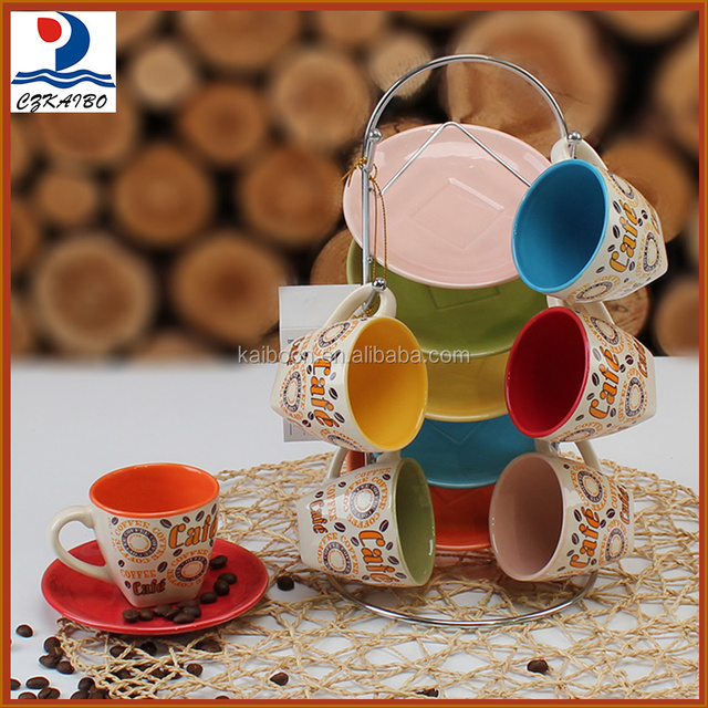 Hot selling colorful ceramic coffee cup with saucer and metal stand on promotion