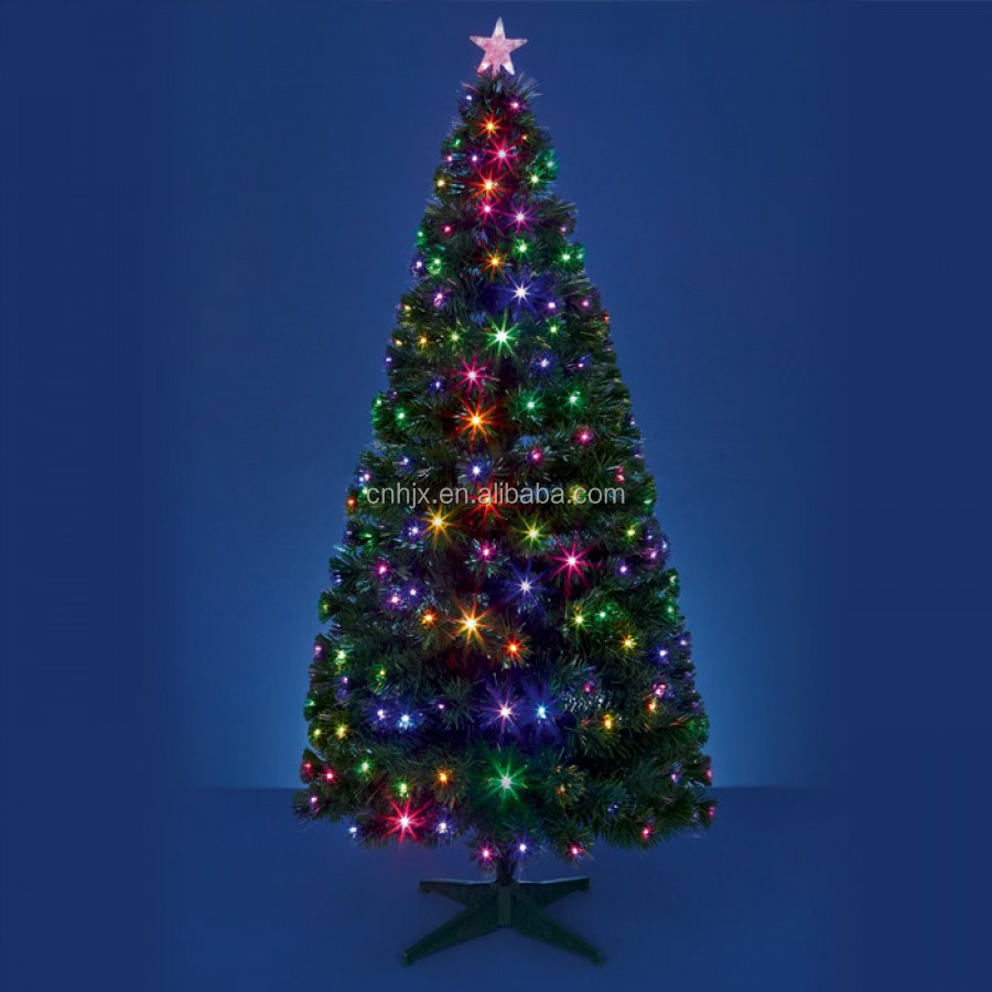 Red, Green, Blue, Evergreen PVC Christmastree Metal Stand, Firework Christmas Tree With Top Star