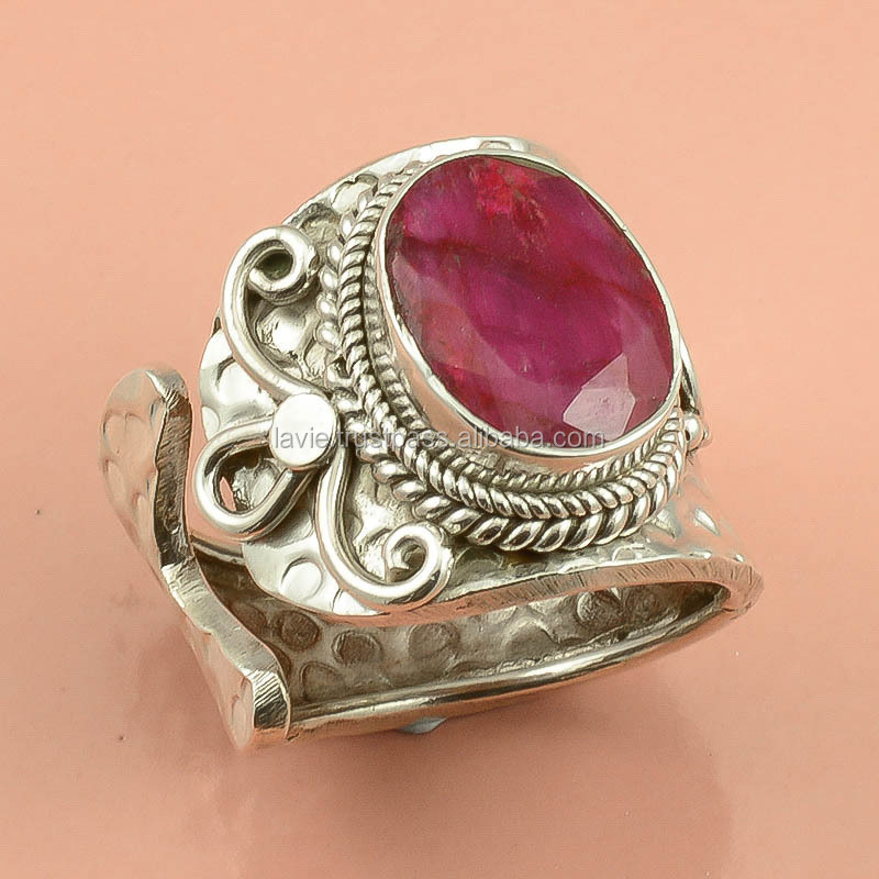 Silver Ring, Natural Corundum Ruby Ring, Best Price
