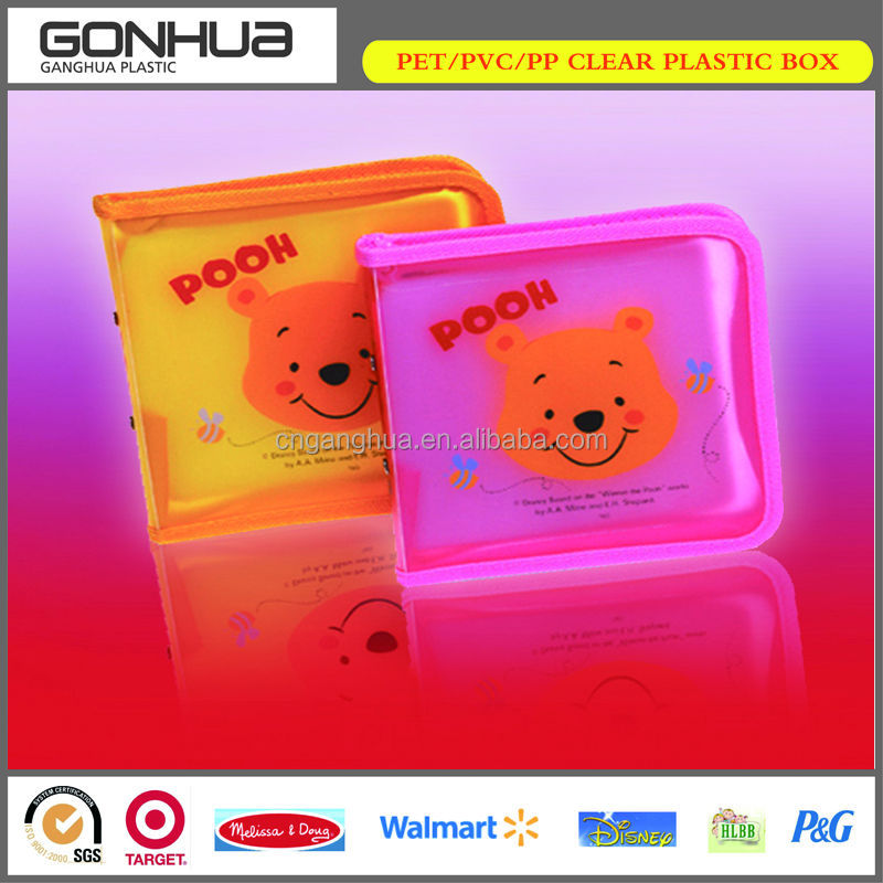 2014 new simple rectangle shape lovely hot pink and orange hard strong clear plastic cd case DVD small products packaging