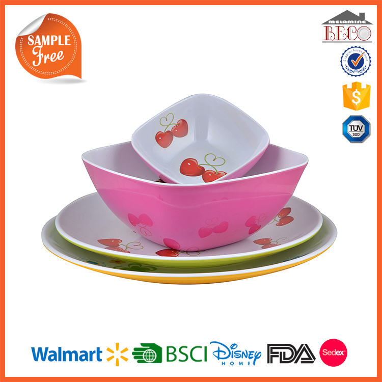 China Suppliers Colorful Plastic Melamine Reusable Plastic Dinnerware