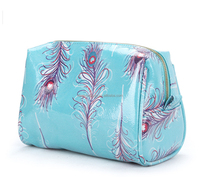 Peacock Faux Leather Beauty Cosmetic Case PU