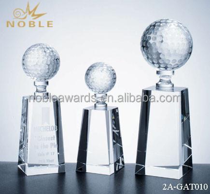 Noble Optical Custom 3d Crystal Golf Ball Trophy for Sport Event Souvenir