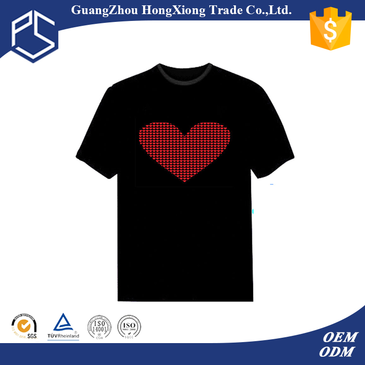 Factory custom high quality men short sleeve led panel t-shirt