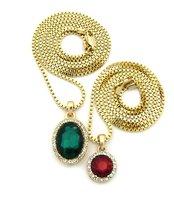 Round Faux Ruby & Faux Emerald Stone Pendant Box Chain Necklace Set