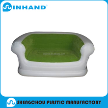 2016 plant sale popular EN71/ASTM certification Elegant green pvc+flock inflatable air sofa for family