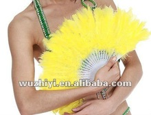 Cheap Chinese Yellow Turkey Feather Belly Dance Plastic Handle Fan