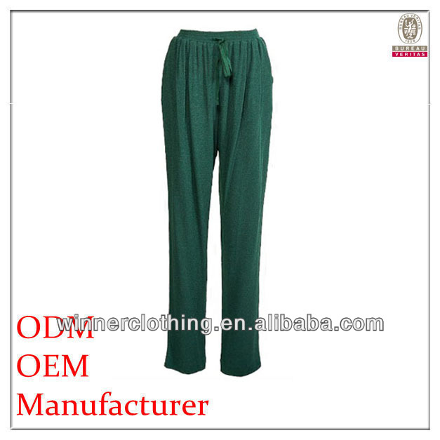 Fashion clothing factory direct woven ladies' loose fit olive green alibaba pants