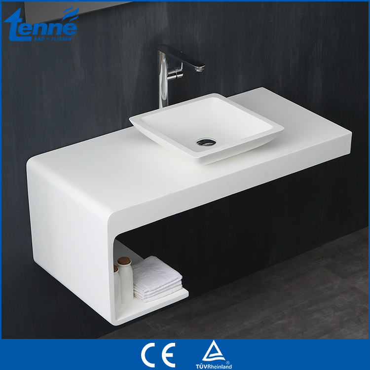 European design cast stone solid surface wall hung bathroom basin sink