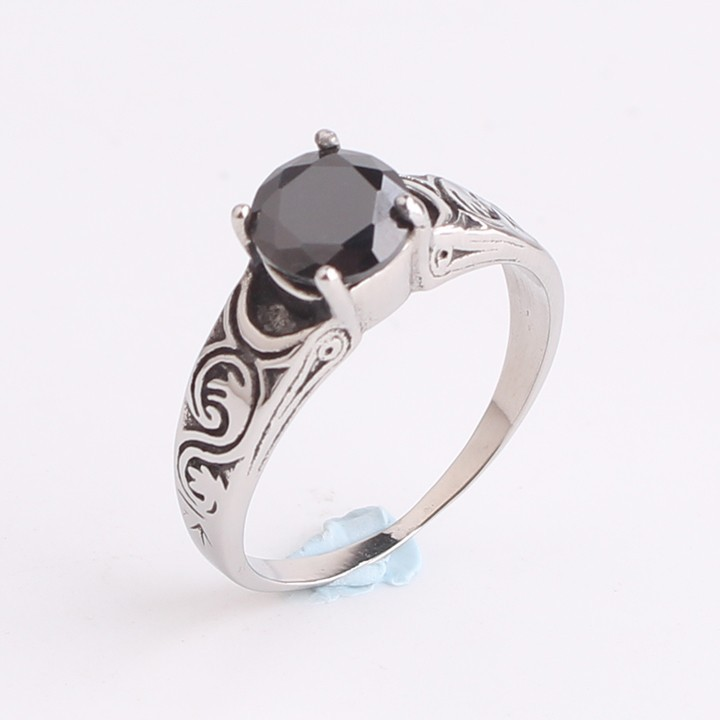 Carved flower black zircon 316L Stainless Steel finger rings for men women jewelry wholesale