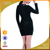 Wholesale Long Sleeve Design Black Long Slim Velvet Dresses