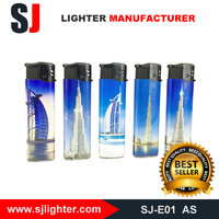 Refillable electronic cheap lighter colorful sticker gas fire brand lighter