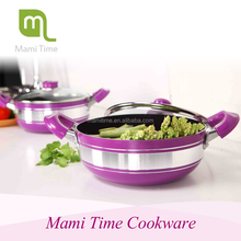 Mami time Aluminum non-stick low saucepot with glass lid