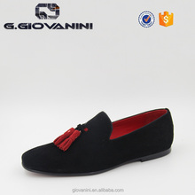 Black suede men loafers with red leather tassel guangzhou shoes factory