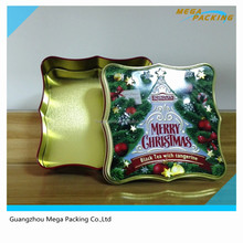 Hot sale Christmas tree design tin box for gift candy packing promotional gift tin can