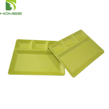 Unbreakable bamboo fiber serving divided tray