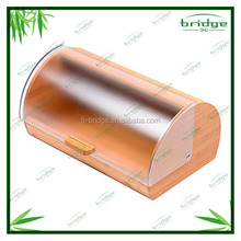 bamboo bread box food storage container with acrylic slip cover