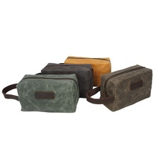 2222-Waxed canvas Wholesale Small Canvas Hanging Men Toiletry Cosmetic Bag