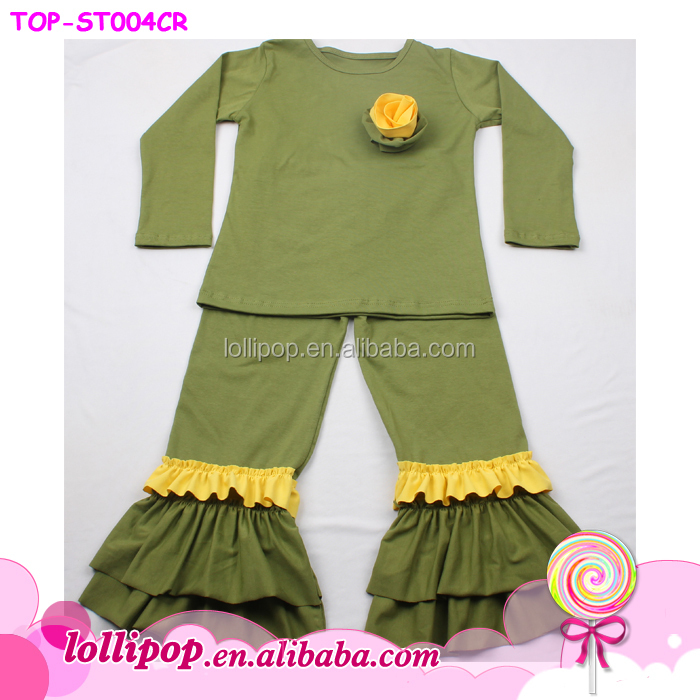 Hotsale persnickety baby toddler clothing olive green yellow cotton cheap china wholesale clothing family set clothes outfit
