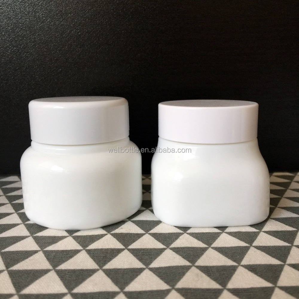 hot sale 30g 50g 100g cosmetic glass packing clear jar, 30 ml and 50 ml 100ml White Porcelain Jar glass cosmetic WP-011R