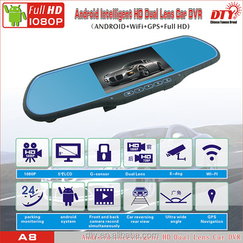 "5.0"" Touch Screen Android 4.4 Quad Core 1080P Full HD Dual Lens Car rearview mirror camera dvr car dvr camera with FM and WI-FI"