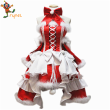 PGWC5049 Christmas Women Girl Winter Lovely Bow Back Red Maid Party Cosplay Costume Dress