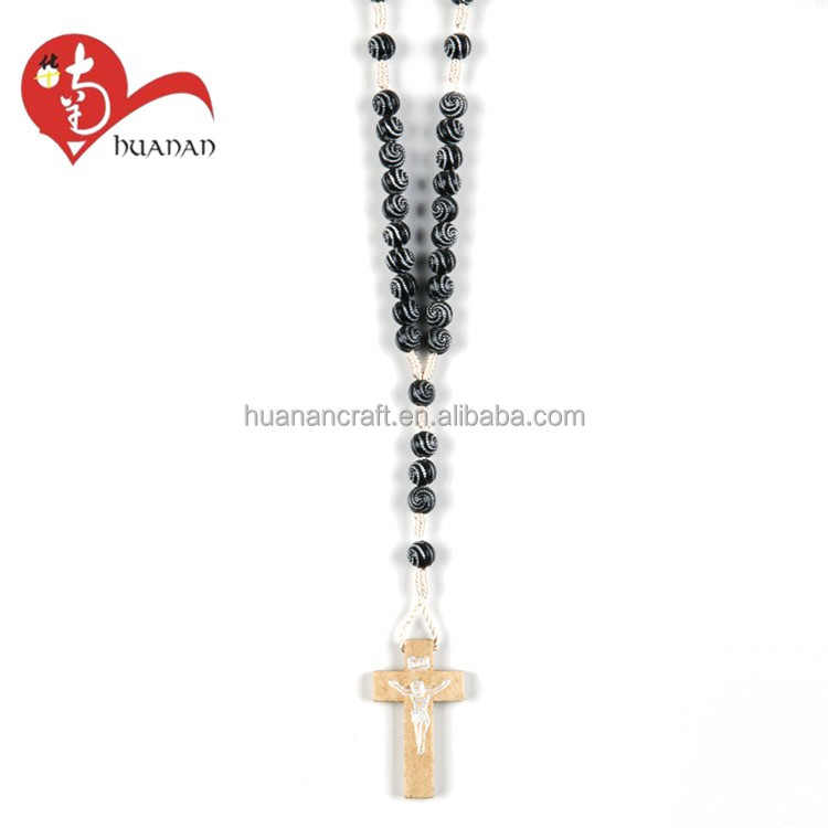 Huanan Cheapest promotion custom plastic black beads rosary necklace