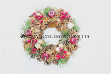 2015 Europe the most popular 35cm Natural Pine Cone Christmas Wreaths
